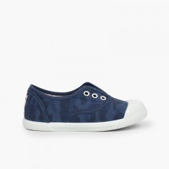 Kids' Camouflage Trainers Navy Blue