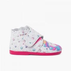 Felt slippers with adhesive closure Unicornio Multicolor