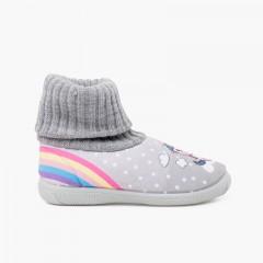 Unicorn wool sock neck slippers Grey