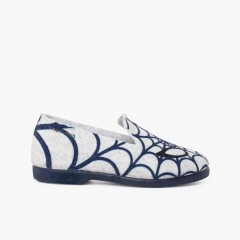 slippers for kids spiderweb Gris y Azul