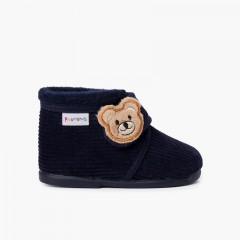 Kids Corduroy Slipper Boots Bear Navy Blue