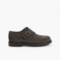 Split-Leather Buckle Blucher Shoes  Grey
