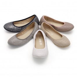 Metallic Linen Ballerina Pumps