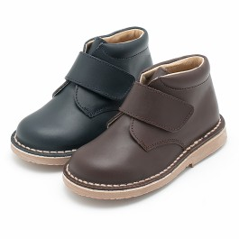 Leather School Boots with Velcro