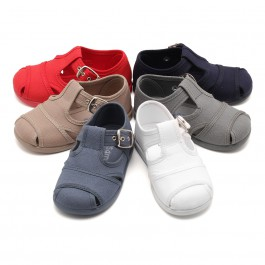 Boys Canvas T-bar Sandals