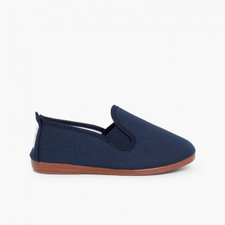 Canvas Slip On Plimsolls Navy Blue