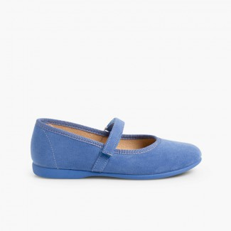 Girls Riptape Faux Suede Mary Janes Airforce blue