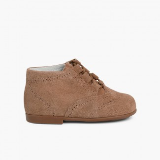 Suede Lace-Up Oxford Booties Taupe