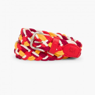 Multicolor Children´s plaited belt Burgundy/Red
