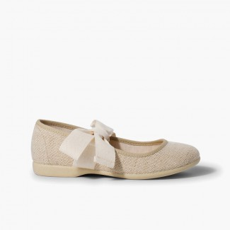 Linen Mary Janes With Beige Bow Linen