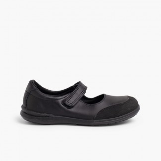 Girls' School Shoes WashablesMary Janes Reinforced Toes  Black