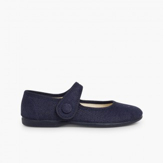 Girls' Linen Mary Janes with loop fasteners and Button Navy Blue