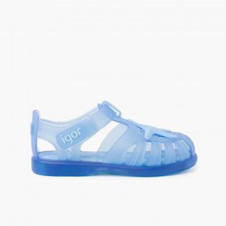 Jelly shoes with loop fasteners and a starfish Sky Blue