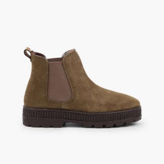 Kids Boots Track Sole with Elastic Khaki