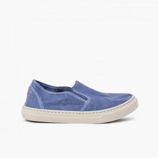 Washed Canvas Side Elastic Trainers Blue