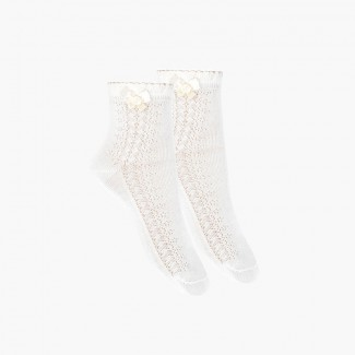 Openwork Dress Socks With Bow White