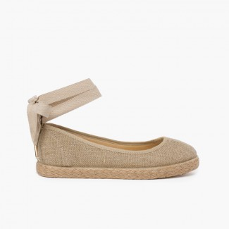 Girls´ linen ballet pumps with lace ribbon and jute sole  Beige