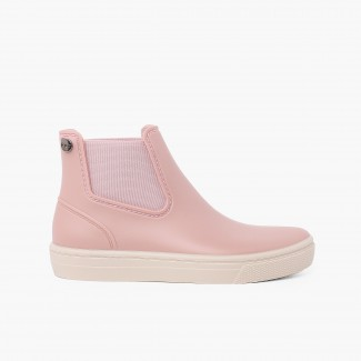 Wellies with elastic bands and wide sole basquet Pastel Pink