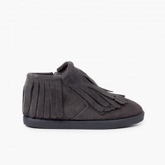 Side zip fringed split ankle boot Grey