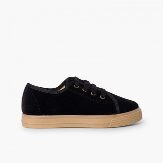 Velvet lace-up trainers with wide sole for kids Black