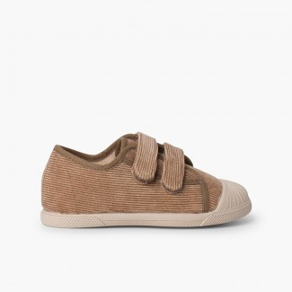 Corduroy trainers with rubber toe and double closure Taupe