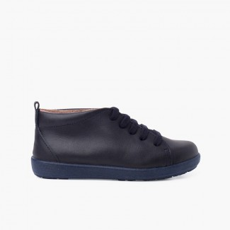 Leather Shoes type Ankle Boots Lace-up Navy Blue