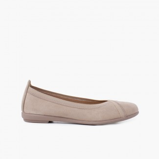 Backstitch Ballet Flats with Crossed Elastic Taupe