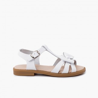 Girl leather sandal with buckle closure White