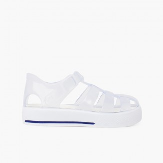 Jelly sandals tennis clip closure White