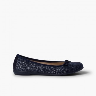 Ballet Pumps with bow and silver details Navy Blue