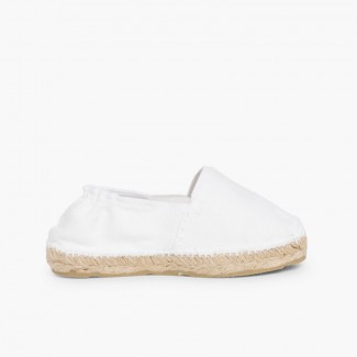Kids Espadrilles with Elastic Band White