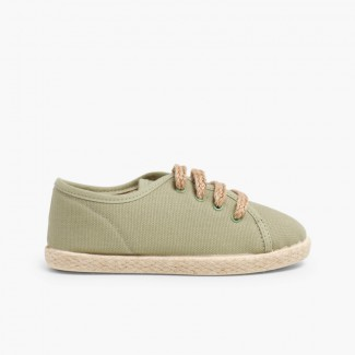 Espadrille style shoes with laces Green