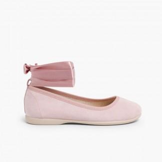 Ballet Pumps Satin Bow Anklet Strap Pale Pink