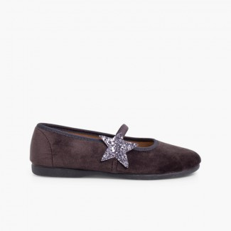 Ballerina shoes with Glitter Stars and Elasticated Strap Grey