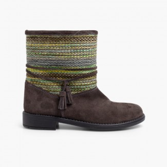 Ethnic boots boho style Grey