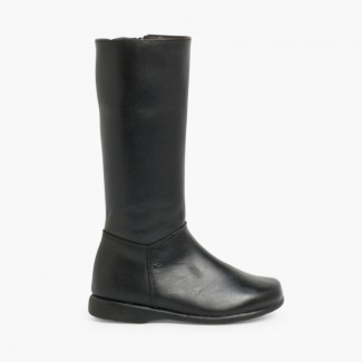 Leather Plain Knee High Boots