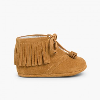 Baby Indian-style Boots with fringes and laces Tan