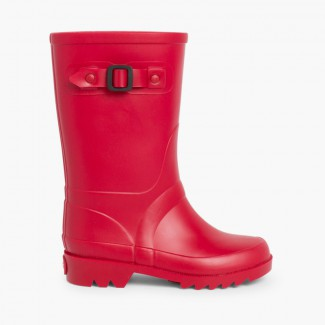 Buckle Strap Wellies for Kids Red