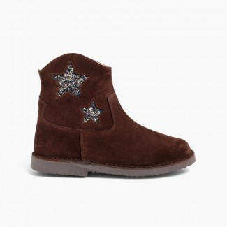 Boots for girls and women with stars and zip Brown