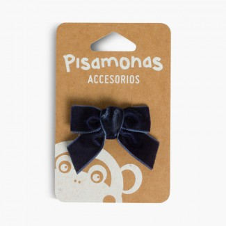 Hair tie with velvet bow Navy Blue