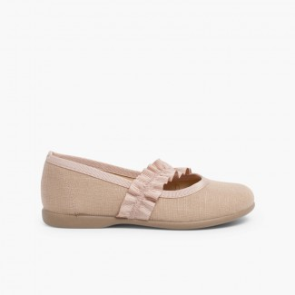 Mary Janes With Wide Elastic Strap Light Brown