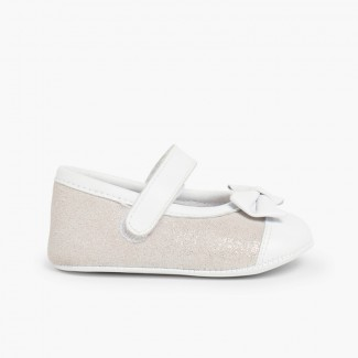 Shiny Baby Mary Janes in Nappa and Leather with loop fasteners Silver
