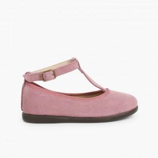 Girls T-Bar Mary Jane Shoes Aubergine