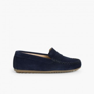 Boys Suede Mask Loafers Navy Blue