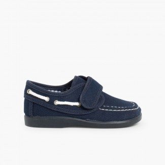 Canvas Boat Shoes loop fasteners Navy Blue
