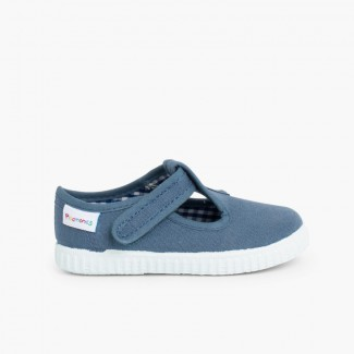 Boys T-Bar loop fasteners Shoes Blue denim