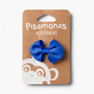 Girl's Small Bow Hair Clips Cobalt Blue