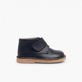 Leather School Boots with Velcro Navy Blue