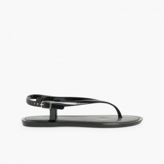 White Toe Post Jelly Sandals With Anklet Fastening Black