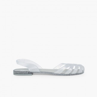 Rubber Sandals for Women Paris Silver